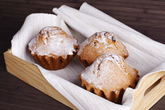 Muffin cakes on a white tablecloth. Stock Photography