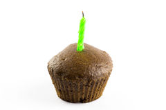 Muffin with candle Royalty Free Stock Images