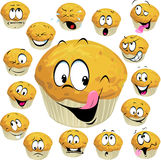 Muffin cartoon. With many expression isolated on white background stock illustration