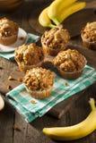 Muffin casalinghi del dado della banana Fotografia Stock Libera da Diritti