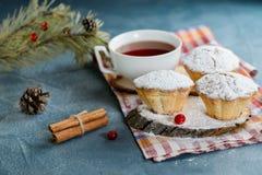Muffin casalinghi freschi del mirtillo rosso in zucchero a velo con i rami ed il tè dell'abete Fotografia Stock