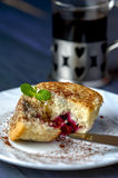 Muffin with cherry and pineapple, cup of coffee Royalty Free Stock Images