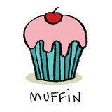 Muffin. With cherry, simple illustration, isolated Royalty Free Stock Image