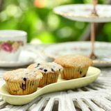 Muffin with china high tea set Stock Images