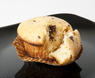 Muffin with chocolate. Delicious chocolate muffin on a white background Stock Photography