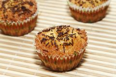 Muffin with chocolate Stock Photos