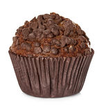 Muffin, chocolate cake with mint isolated on white Royalty Free Stock Photo