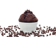 Muffin with chocolate chips Royalty Free Stock Photography