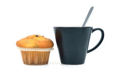 Muffin with chocolate and coffe cup Stock Photos