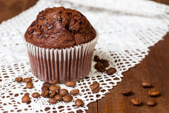 Muffin chocolate with coffee Stock Photography