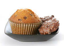 Muffin and chocolate cookies Royalty Free Stock Image