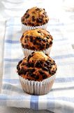Muffin chocolate cupcake group of three Stock Photos