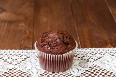 Muffin chocolate on dark wood table Stock Photo