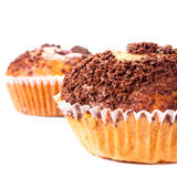 Muffin with chocolate sprinkles isolated on white background, ma Royalty Free Stock Image