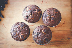 Muffin chocolate. On the table Royalty Free Stock Images