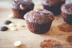 Muffin chocolate. On the table Royalty Free Stock Photo