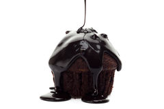 Muffin with chocolate on top Royalty Free Stock Photos