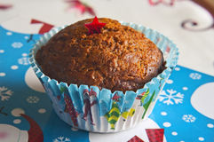Muffin. In christmas paper cup Royalty Free Stock Photo