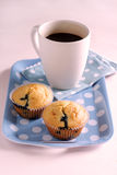 Muffin and coffee. Two blueberry muffin and a mug of black coffee on a blue tray Royalty Free Stock Image