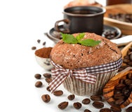 Muffin and coffee beans Stock Photo