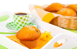 Muffin with coffee cup Stock Photos