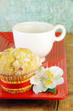 Muffin and Coffee On a Rustic Wood Table Stock Image