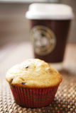 Muffin and coffee to go stock photos