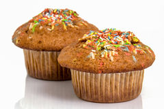Muffin with colours candy Royalty Free Stock Images