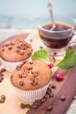 Muffin con caffè Fotografia Stock
