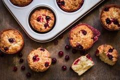 Muffin con il mirtillo rosso su fondo di legno Fotografia Stock