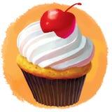 Muffin con la ciliegia Fotografia Stock