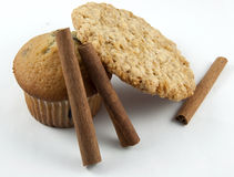 Muffin, Cookie & Cinnamon Sticks Royalty Free Stock Photo