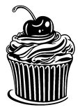 Muffin, cupcake. Muffin with cherry, black illustration stock illustration