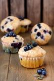 Muffin cupcakes met bosbessen op een houten achtergrond Cupcakes met bessen Verticale foto die wordt verfraaid Stock Foto
