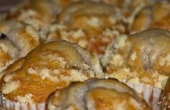 Muffin de blueberry acima recentemente cozidos perto Imagens de Stock Royalty Free
