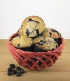 Muffin de blueberry caseiros na cesta vermelha Imagens de Stock Royalty Free
