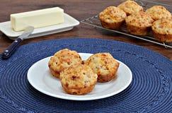 Muffin del cheddar e del bacon Fotografia Stock Libera da Diritti