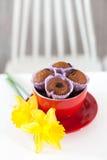 Muffin del cioccolato con l'uva passa nella menzogne rossa accanto alla tazza Immagini Stock Libere da Diritti
