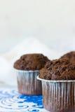 Muffin del cioccolato su un fondo leggero Fotografia Stock Libera da Diritti