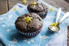 Muffin del cioccolato sul tovagliolo blu Fotografie Stock Libere da Diritti