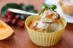 Muffin del formaggio con la zucca Fotografia Stock