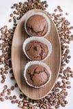 Muffin del hocolate del ¡ di Ð con i chicchi di caffè Fotografia Stock Libera da Diritti