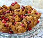 Muffin del mirtillo rosso della zucca di Paleo Fotografia Stock
