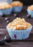 Muffin dell'avena con i mirtilli Immagine Stock Libera da Diritti