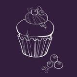 Muffin della vaniglia con i mirtilli Fotografia Stock Libera da Diritti