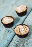 Muffin des kleinen Kuchens mit drei Äpfeln auf einem hölzernen Hintergrund lizenzfreie stockbilder