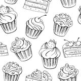 Muffin dessert graphic black white sketch seamless pattern illustration. Vector Stock Image