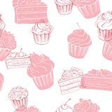 Muffin dessert graphic pink color sketch seamless pattern illustration vector. Muffin dessert graphic pink color sketch seamless pattern illustration Royalty Free Stock Photography