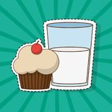 White muffin design. Muffin of dessert sweet and bakery theme Vector illustration Stock Photos