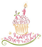 Muffin di compleanno, bigné Immagini Stock Libere da Diritti